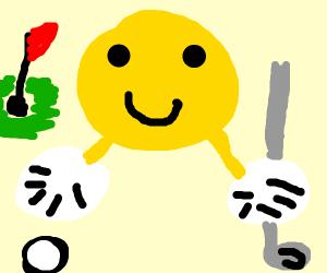 An emoji wearing 2 GOLFING GLOVES, is golfing