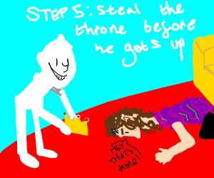 Step 4: weird al falls off the throne