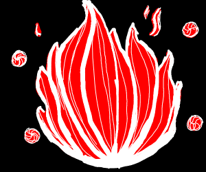 Peppermint candy-colored fire