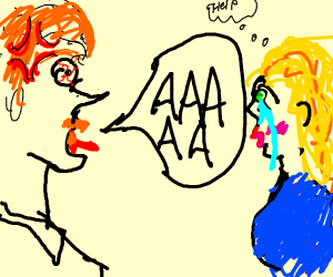 angry ginger man yells at someone