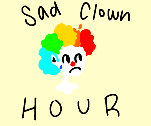 sad rainbow hair clown