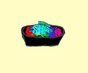 Depressed fish in rainbow marinade