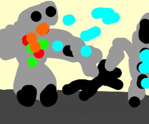 2 robot mechs beats up a stickman