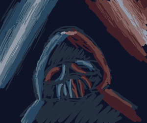 Darth Vader lit by both blue and red