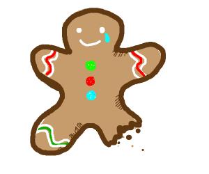 Gingerbread man with leg bitten off