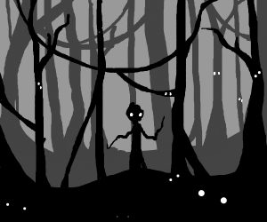 Lonely man in a dark forest