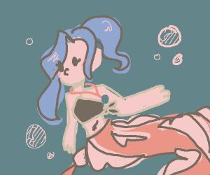 A humanoid beta fish mermaid