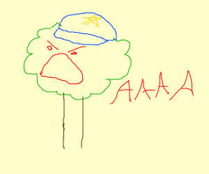 Screaming tree with police hat