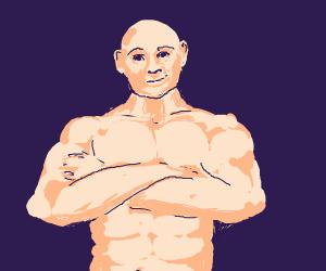 muscular bald man