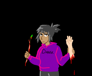 edgy fem teen, holding bloody twig and an arm