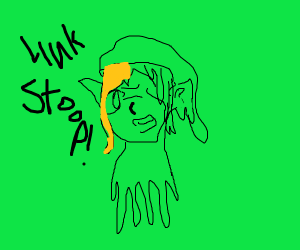 Zelda and Link fused in horrible abomination