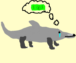 Otter-dolphin dreams of money and cries