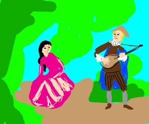 Man in hat serenades girl in dress with ukele