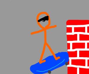 Radical skater skates towards a wall