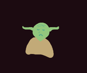 a goblin (possibly yoda?) is sad