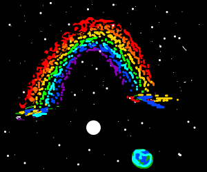 A rainbow in space