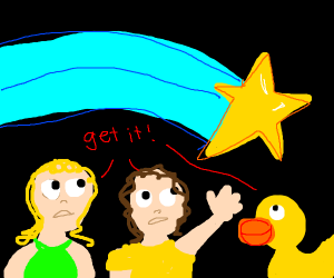 two people and a duck chase down fleeing star