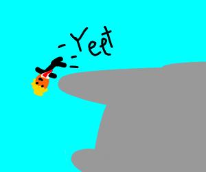 donald trump yeets himself off a cliff