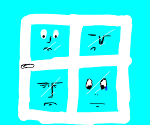 A sad window with four faces