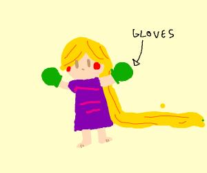 Rapunzel wearing Gloves