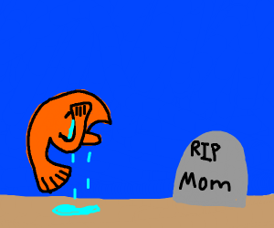 Sad fish mourners his mother