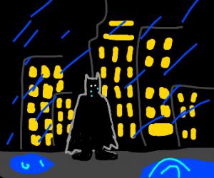 Batman CRIYING IN THE RAIN