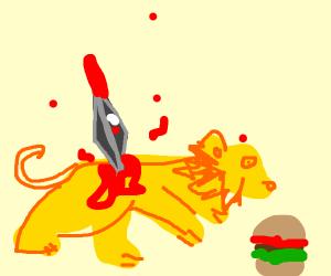 Lion eating burger gets stabbed