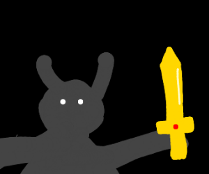 Creature in the dark with a sword