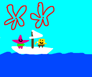 Patrick and SpongeBob send a paper boat saili