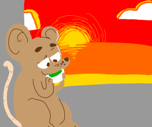 Peaceful mouse drinking green tea