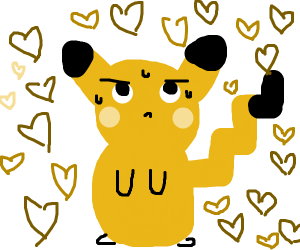Pikachu surrounded by hearts