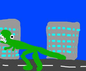 A t-rex terrorizing the city