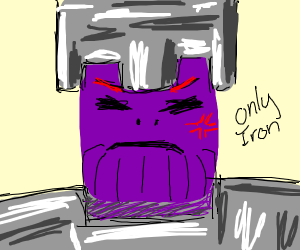 Thanos wears iron helmet + chestplate