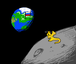 dragon on the moon looks at Russia