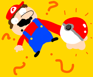 mario finds pokeball and is confusion