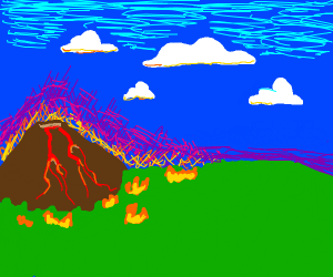 Erupting volcano causes forest fire