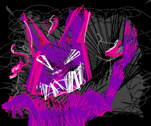 Abstract Cheshire Cat with human fingers