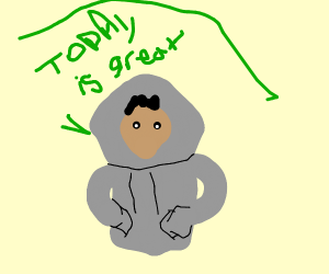 Gray hoodie man enjoying his day.
