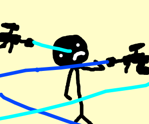 stickman in lasers