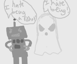 robot hates being a robot, ghost hates being