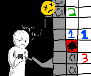 Guy gives up on Minesweeper