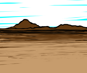 A desert with mountains