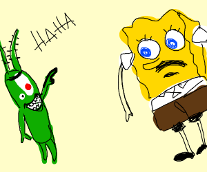 Two eyed plankton laughs at spongebob