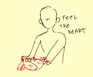 man plunges hands into heart