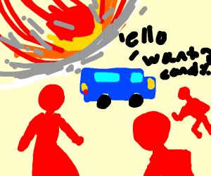 blue van says hello to the children