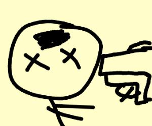 guy's head dented by giant gun