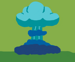 a blue electric explosion in a green atmosphe