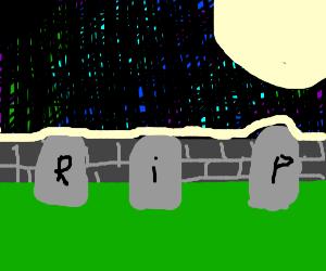 night at cemetery