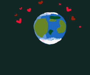 Earth surrounded with hearts
