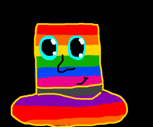 Rainbow Top Hat with a face